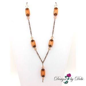 Cat's Eye, Swarovski Crystal & Copper Necklace